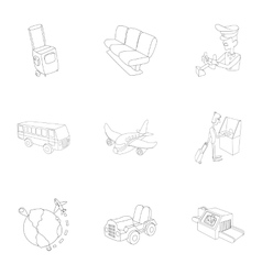 Check at airport icons set outline style vector image
