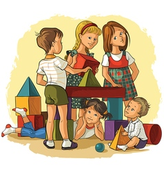 Children playing with building colorful blocks vector