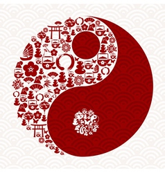 Chinese New Year of the Snake yin yang vector image