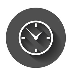 clock icon flat design with long shadow vector image