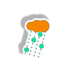 Cloud and rain with volcanic elements weather vector