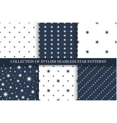 collection seamless star patterns vector image