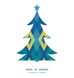 Colorful fabric ikat diamond Christmas tree vector