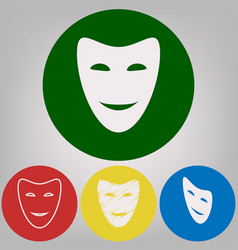 Comedy theatrical masks 4 white styles of vector