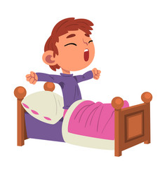 cute boy waking up preschool kid daily routine vector image