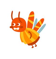 Cute cartoon bumblebee colorful character vector