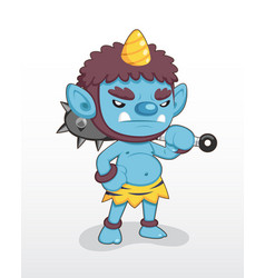 cute style blue japanese demon standing vector image