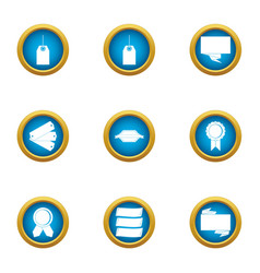 discount plate icons set flat style vector image