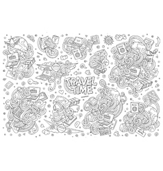 Doodle cartoon set of travel theme items vector