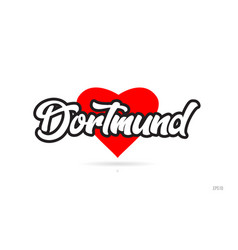 Dortmund city design typography with red heart vector