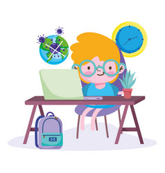 Education online little boy studying with vector