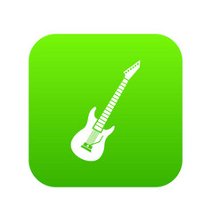 Electric guitar icon digital green vector