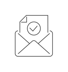 email approve line icon on white background vector image