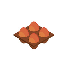 farm eggs raw tray isometric icon vector image