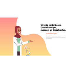 Female arab scientists working laboratory doing vector