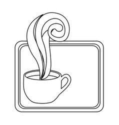 Figure small squard symbol of coffee cup vector