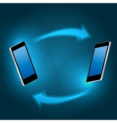 Global connecting concept with mobile phone vector