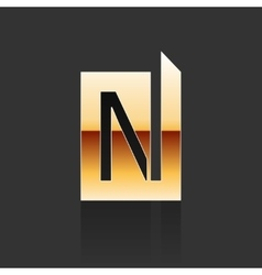 Gold Letter N Shape Logo Element vector image