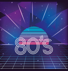 graphic sun and geometric 80s neon style vector image