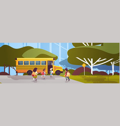 group mix race pupils with backpacks walking vector image