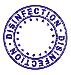 Grunge textured disinfection round stamp seal vector