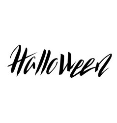 halloween hand-drawn black lettering vector image