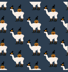halloween llama witch with cat seamless pattern vector image