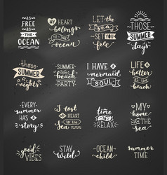 hand-drawn chalk lettering quotes about sea ocean vector image