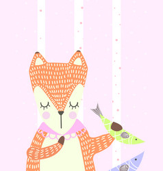 hand drawn funny cute sleeping fox with fish vector image