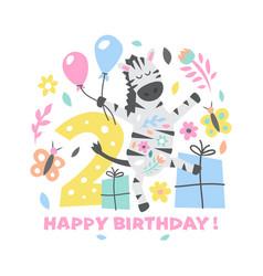 happy birthday cute with zebra vector image