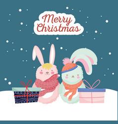 happy new year 2020 celebration cute rabbits vector image