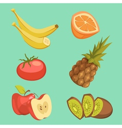 Healthy Food Cartoon Set vector image