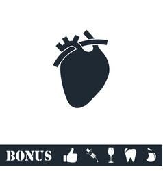 Heart icon flat vector