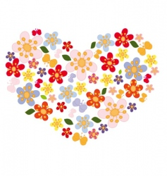 heart of flowers and butterflies vector image