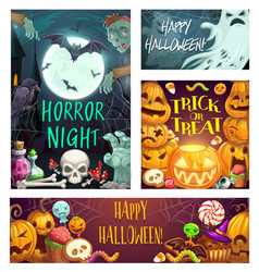 horror night halloween party trick or treats vector image