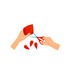 Human hands cutting out flower petals of bright vector