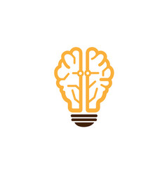 intelligence brain lamp symbol logo vector image