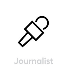 journalist microphone icon editable line vector image