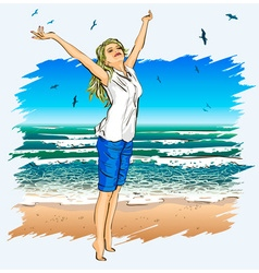 Lady Enjoying the Beach vector image