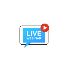 Live webinar button icon emblem label isolated vector