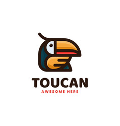 Logo toucan simple mascot style vector