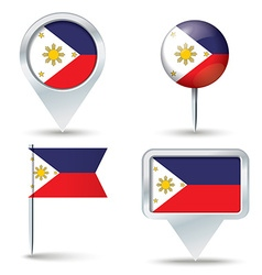 Map pins with flag of Philippines vector