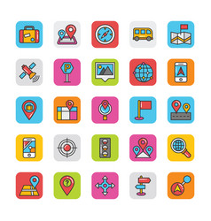 Maps and navigation coloured flat icons vector