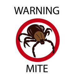 Mite insect warning vector