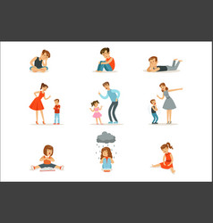 mutual relations parents and children mom and vector image