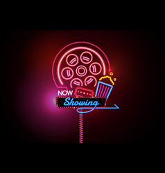 Now open glowing neon and bulb sign cinema movie vector