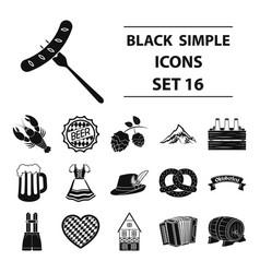 oktoberfest set icons in black style big vector image