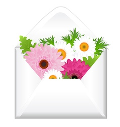 Open Envelope With Flowers vector image