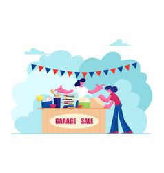 Outdoor garage sale with housewares clothing vector