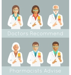 Pharmacists holding a box with medicine vector